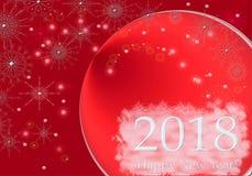 Απεικόνιση χαιρετισμού σχεδίου καλής χρονιάς 2018 γράφοντας Υπόβαθρο χειμερινών κόκκινο άσπρο διακοπών με το χιόνι, snowflakes Στοκ φωτογραφία με δικαίωμα ελεύθερης χρήσης