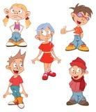 απεικόνιση χαριτωμένα μικρά κορίτσια και αγόρια cartoon ελεύθερη απεικόνιση δικαιώματος