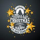 Απεικόνιση Χαρούμενα Χριστούγεννας με τα χρυσά στοιχεία σφαιρών, αστεριών και τυπογραφίας γυαλιού στο μαύρο υπόβαθρο Διανυσματικέ ελεύθερη απεικόνιση δικαιώματος