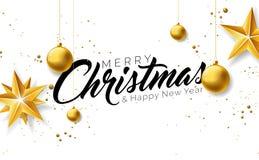 Απεικόνιση Χαρούμενα Χριστούγεννας με τα χρυσά στοιχεία σφαιρών, αστεριών και τυπογραφίας γυαλιού στο άσπρο υπόβαθρο Διανυσματικέ απεικόνιση αποθεμάτων