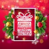 Απεικόνιση Χαρούμενα Χριστούγεννας με την ελαφριά γιρλάντα τυπογραφίας και διακοπών, τον κλάδο πεύκων, Snowflakes και τη διακοσμη απεικόνιση αποθεμάτων