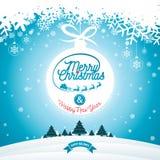 Απεικόνιση Χαρούμενα Χριστούγεννας με την τυπογραφία και διακόσμηση διακοσμήσεων στο υπόβαθρο χειμερινών τοπίων Διανυσματικά Χρισ Στοκ Φωτογραφίες