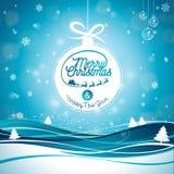 Απεικόνιση Χαρούμενα Χριστούγεννας με την τυπογραφία και διακόσμηση διακοσμήσεων στο υπόβαθρο χειμερινών τοπίων Διανυσματικά Χρισ Στοκ φωτογραφίες με δικαίωμα ελεύθερης χρήσης