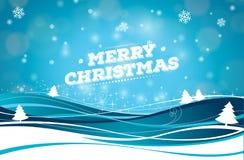 Απεικόνιση Χαρούμενα Χριστούγεννας με την τυπογραφία και διακόσμηση διακοσμήσεων στο υπόβαθρο χειμερινών τοπίων Διανυσματικές δια ελεύθερη απεικόνιση δικαιώματος