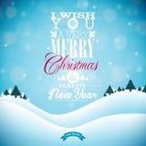 Απεικόνιση Χαρούμενα Χριστούγεννας με την τυπογραφία και διακόσμηση διακοσμήσεων στο υπόβαθρο χειμερινών τοπίων Διανυσματικά Χρισ Στοκ Εικόνα