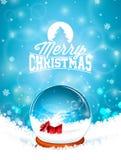 Απεικόνιση Χαρούμενα Χριστούγεννας με τη σφαίρα χιονιού και snowflakes στο υπόβαθρο χειμερινών τοπίων Διανυσματικό σχέδιο διακοπώ διανυσματική απεικόνιση