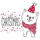 Απεικόνιση Χαρούμενα Χριστούγεννας 2018 με το αστείο σκυλί Χέρι που σύρεται vec Στοκ φωτογραφίες με δικαίωμα ελεύθερης χρήσης