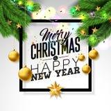 Απεικόνιση Χαρούμενα Χριστούγεννας στο άσπρο υπόβαθρο με τη διακοσμητική επιστολή σφαιρών και τυπογραφίας Διανυσματικό σχέδιο δια διανυσματική απεικόνιση
