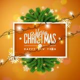 Απεικόνιση Χαρούμενα Χριστούγεννας στο πορτοκαλί υπόβαθρο με την ελαφριά γιρλάντα τυπογραφίας και διακοπών, κλάδος πεύκων, Snowfl απεικόνιση αποθεμάτων