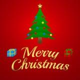 Απεικόνιση Χαρούμενα Χριστούγεννας - το χριστουγεννιάτικο δέντρο με παρουσιάζει Στοκ Εικόνα