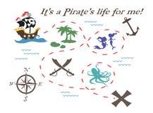 Απεικόνιση χαρτών θησαυρών πειρατών στοκ φωτογραφία