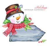 Απεικόνιση χειμερινών διακοπών Ξύλινο πλαίσιο Watercolor με το χιονάνθρωπο Στοκ εικόνες με δικαίωμα ελεύθερης χρήσης