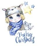 Απεικόνιση χειμερινών διακοπών Το μικρό παιδί Watercolor με το γατάκι εξετάζει τα αστέρια Στοκ Φωτογραφία