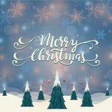 Απεικόνιση χειμερινών στεφανιών Χαρούμενα Χριστούγεννας Στοκ Εικόνες