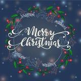 Απεικόνιση χειμερινών στεφανιών Χαρούμενα Χριστούγεννας Στοκ Εικόνα
