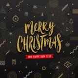 Απεικόνιση Χριστουγέννων - ακτινοβολήστε χρυσός χαιρετισμός διακοπών σε ένα αφηρημένο υπόβαθρο Χριστουγέννων ελεύθερη απεικόνιση δικαιώματος