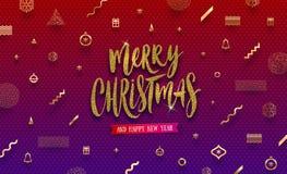 Απεικόνιση Χριστουγέννων - ακτινοβολήστε χρυσός χαιρετισμός διακοπών σε ένα αφηρημένο υπόβαθρο Χριστουγέννων απεικόνιση αποθεμάτων