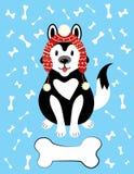 Απεικόνιση Χριστουγέννων ενός σκυλιού σε ένα καπέλο και με μια πέτρα Ένα σκυλί αναπαράγει γεροδεμένου στο χιόνι Εικόνα για την κά Στοκ Εικόνες