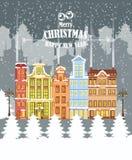 απεικόνιση Χριστουγέννων εύθυμη 33c ural χειμώνας θερμοκρασίας της Ρωσίας τοπίων Ιανουαρίου Χριστούγεννα καρτών που χ&a διανυσματική απεικόνιση