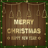 Απεικόνιση Χριστουγέννων - διακοπές που χαιρετούν το έμβλημα και τα Χριστούγεννα Στοκ φωτογραφίες με δικαίωμα ελεύθερης χρήσης