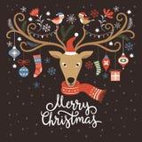 Απεικόνιση Χριστουγέννων, κάρτα Χριστουγέννων Στοκ Εικόνες