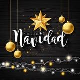 Απεικόνιση Χριστουγέννων με την ισπανική τυπογραφία Feliz Navidad και χρυσό αστέρι εγγράφου διακοπής, σφαίρα γυαλιού στο μαύρο τρ διανυσματική απεικόνιση