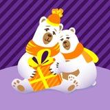 Απεικόνιση Χριστουγέννων με την οικογένεια πολικών αρκουδών ελεύθερη απεικόνιση δικαιώματος