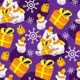 Απεικόνιση Χριστουγέννων με την οικογένεια πολικών αρκουδών Τυλίγοντας τυπωμένη ύλη Χριστουγέννων διανυσματική απεικόνιση
