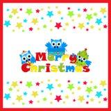 Απεικόνιση Χριστουγέννων με τη χαριτωμένη κουκουβάγια στο υπόβαθρο αστεριών στο κόκκινο πλαίσιο κατάλληλο για την κάρτα, την ταπε ελεύθερη απεικόνιση δικαιώματος