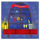Απεικόνιση Χριστουγέννων με το παράθυρο, το μπουκάλι σαμπάνιας και τα γυαλιά στον πίνακα Στοκ φωτογραφία με δικαίωμα ελεύθερης χρήσης