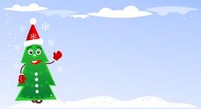 Απεικόνιση Χριστουγέννων με το πράσινο δέντρο έλατου ελεύθερη απεικόνιση δικαιώματος