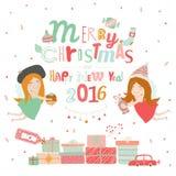Απεικόνιση Χριστουγέννων με το τυπογραφικό υπόβαθρο Στοκ Εικόνες