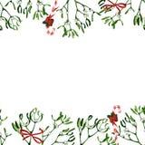 Απεικόνιση Χριστουγέννων Watercolor με το γκι και τον κόκκινο κάλαμο καραμελών στοκ εικόνες