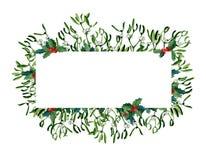 Απεικόνιση Χριστουγέννων Watercolor με το γκι και τον κόκκινο κάλαμο καραμελών στοκ φωτογραφίες