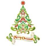 Απεικόνιση χριστουγεννιάτικων δέντρων Doodle με το Floral σχέδιο Στοκ Φωτογραφία