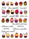 Απεικόνιση χρωματισμένος cupcakes ελεύθερη απεικόνιση δικαιώματος