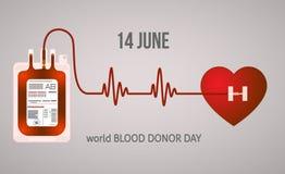 Απεικόνιση δωρεάς αίματος με το διάνυσμα αποθεμάτων κτύπου της καρδιάς διανυσματική απεικόνιση