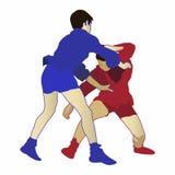 Απεικόνιση δύο αγοριών σε έναν ανταγωνισμό μιγάδων διανυσματική απεικόνιση