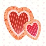 Απεικόνιση δύο διανυσματική καρδιών Στοκ Εικόνα