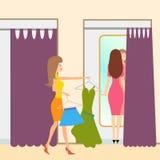 Δύο κορίτσια σε ένα δωμάτιο συναρμολογήσεων απεικόνιση αποθεμάτων