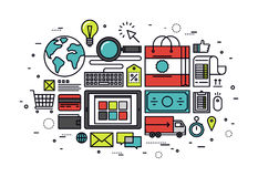 Απεικόνιση ύφους γραμμών αγορών ηλεκτρονικού εμπορίου Στοκ Φωτογραφίες