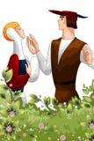 Απεικόνιση ύφους κινούμενων σχεδίων χαρακτήρα λουλουδιών ζευγαριού ανδρών γυναικών Στοκ Φωτογραφία