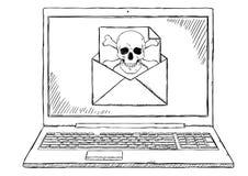 Απεικόνιση ύφους σκίτσων του σημειωματάριου με μολυσμένος με ηλεκτρονικό ταχυδρομείο ιών Στοκ εικόνα με δικαίωμα ελεύθερης χρήσης
