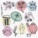 Απεικόνιση ύφους Doodle με τα ιαπωνικά σύμβολα διανυσματική απεικόνιση