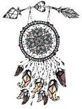 Απεικόνιση catcher ονείρου με το βέλος, αφίσα αμερικανών ιθαγενών ελέγξτε την εικόνα σχεδίου η παρόμοια δερματοστιξία χαρτοφυλακί διανυσματική απεικόνιση