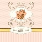 Απεικόνιση Cupcake Διανυσματική συρμένη χέρι κάρτα με τους παφλασμούς watercolor Σχέδιο σημείων και λωρίδων Πόλκα 1 πρόσκληση καρ Στοκ Εικόνες