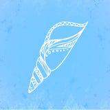 Απεικόνιση Doodle του θαλασσινού κοχυλιού με το grunge που γρατζουνίζεται Στοκ Εικόνες