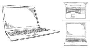 Απεικόνιση Doodle του σημειωματάριου κατά 3 διαφορετικές απόψεις Στοκ Εικόνες