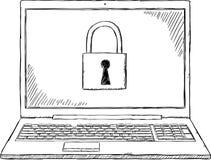 Απεικόνιση Doodle του σημειωματάριου με την κλειδαριά ασφάλειας στην οθόνη Στοκ φωτογραφία με δικαίωμα ελεύθερης χρήσης