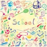 Απεικόνιση Doodle των σχολικών αντικειμένων Ζωηρόχρωμο, υπόβαθρο watercolor Περιγραμμένη απεικόνιση των στοιχείων σχεδίου Στοκ φωτογραφία με δικαίωμα ελεύθερης χρήσης